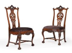 A SET OF EIGHT PORTUGUESE CARVED WALNUT DINING CHAIRS, MID 18TH CENTURY