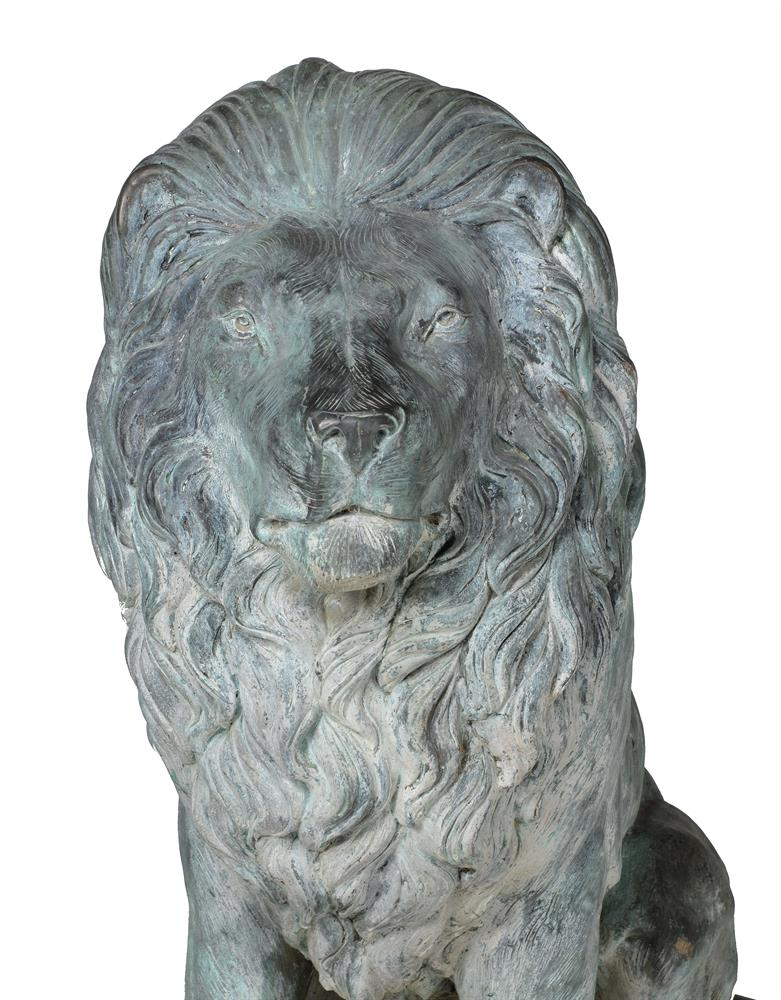 A LARGE PAIR OF BRONZE LIONS, OF RECENT MANUFACTURE - Image 4 of 4