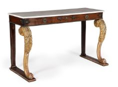 Y A REGENCY ROSEWOOD, GILTWOOD, AND GILT METAL MOUNTED CONSOLE TABLE, CIRCA 1815