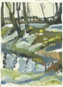 Anne Lever, Snowdrops and Daffodils by Pond, 2021