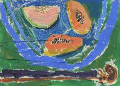 Rosa Roberts, Still life on blue bowl with violin, 2021
