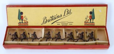 Britains Zulus Set No. 147 in original box comprising eight charging Zulus with spears and shields