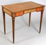 A French gilt metal mounted and parquetry side table