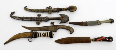 Militaria- assorted knives including two North African Koummya daggers