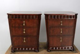 A pair of figured hardwood bedside cabinets