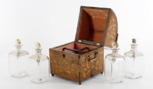 A 19th century Dutch mahogany and floral marquetry liquor decanter box