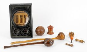 Treen and ephemera including a French ebonised table top stereoscope viewer