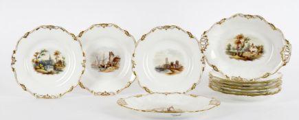 A Victorian English porcelain dessert service