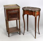 A late 19th century French mahogany and gilt metal mounted marble top bedside table