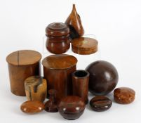Y Treen to include assorted boxes including a 19th century French burr birch box