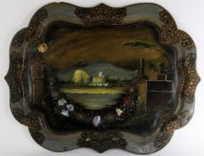 Y A painted and mother-of-pearl inlay papier mâché tray