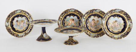A Limoges porcelain Sevres style blue-ground and gilt part desert service