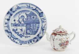 An 18th century Chinese export porcelain teapot and cover