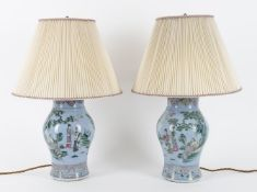 Lighting to include- a pair of Chinese porcelain twin light table lamps