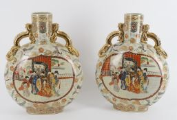 A large pair of Japanese moon flask vases in the Satsuma style