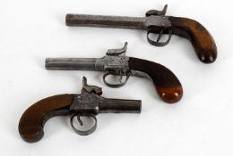 Militaria- three various English percussion pocket pistols