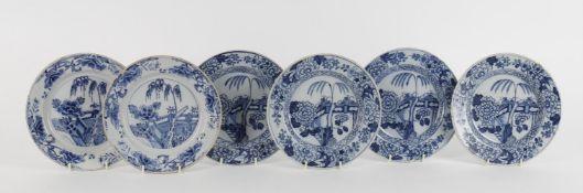 Six 18th century Dutch blue and white delft plates