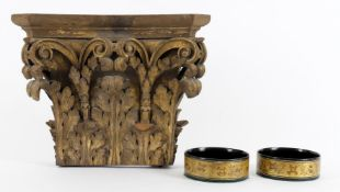 A late 19th century carved and gilded oak capital