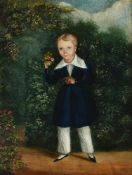 English Provincial School (19th century), A boy holding sprigs of roses, in a garden