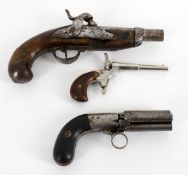 Militaria- three Continental pistols including an unmarked pepperbox pistol in the manner of Cooper