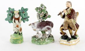Four 18th and 19th items of English ceramics including a Derby Bocage group of cow and calf