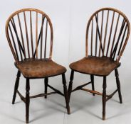 Two similar 19th century stick back Windsor chairs