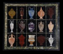 A Neo-classical style specimen marble and hardstone panel of vases