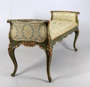 A Venetian style green and gilt window seat
