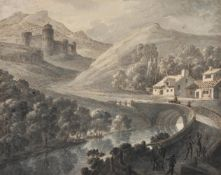 Attributed to Robert Adam (British 1728-1792), Figures on a bridge; together with another (2)