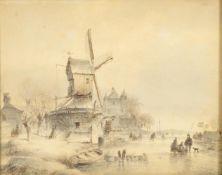 Lodewick Johannes Kleijn (1817-1897) Dutch Canal with windmill