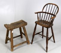 A 19th century child's Windsor high chair