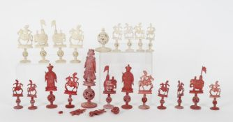 Y A Cantonese carved and stained bone part chess set