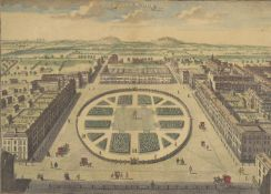 A 19th century handtinted print of 'Grovenor Square'