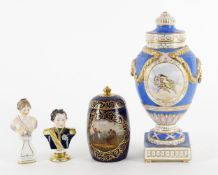 Four items of German porcelain including a Berlin porcelain bust of a classical woman