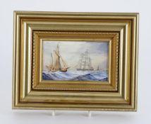 William E J Dean- three 18th century style shipping scenes