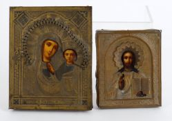 Two late 19th Russian Icons including a small brass mounted Kazam Mother of God icon