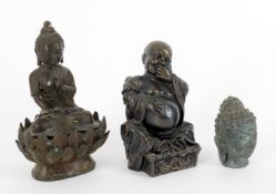 Asian metalware to include a bronze figure of the seated Buddha
