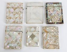 Six late Victorian mother-of-pearl visiting card cases