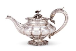 Y A William IV silver melon lobed tea pot by John James Whiting