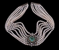 An emerald, diamond and cultured pearl necklace