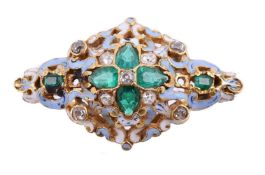 A mid Victorian diamond and emerald brooch