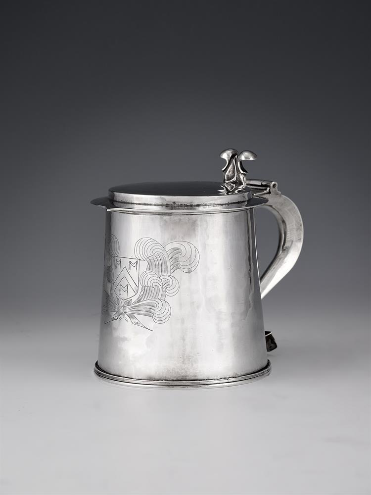 A Commonwealth or Charles II silver straight-tapered tankard by Anthony Ficketts