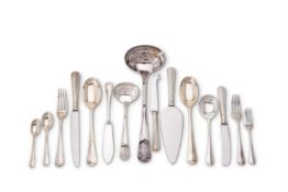 A silver Hanoverian pattern table service for twelve place settings by Carr's of Sheffield