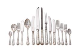 A silver King's pattern table service by Warriss & Co.