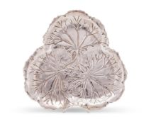 An American silver trefoil tray by International Silver Co.