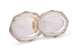 A pair of early Victorian silver shaped oval meat plates by William Ker Reid