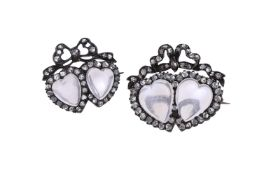 A pair of Victorian moonstone and diamond double heart brooches