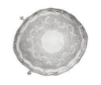 A George III silver shaped oval salver by Richard Rugg II