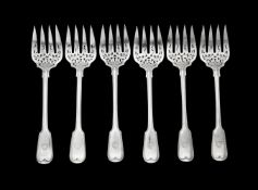 A set of six Victorian silver fiddle and thread pattern serving forks by George Adams