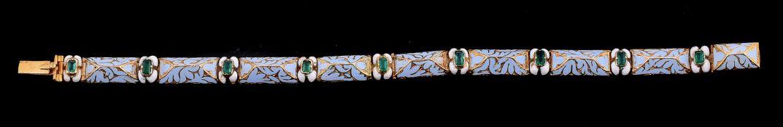 A mid Victorian emerald and enamel bracelet